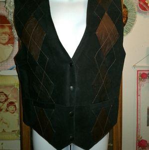 Lady's Black Leather & Suede Vest